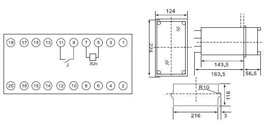 3技术要求 1. 额定电压为100V、50Hz。 2. 整定值为5V~40V。 3. 动作电压一致性不大于6%。 4. 返回系数不小于0.4。 5. 频率特性 在5V整定值处,150Hz动作电压应大于40V。 6. 动作时间 在3倍整定值时,动作时间不大于30ms。 7. 功率消耗 在最小整定值、额定电压下,继电器功率消耗不大于15VA。 8.