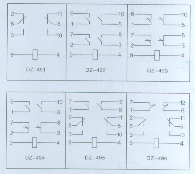 DZ-490系列中间继电器 一、概述 本系列中间继电器用于各种保护和自动控制装置中,以增回保护和控制回路的触点容量和触点数量 二、技术参数 1.电压规格(V):110V,48V,24V,12V 2.动作值:≤70%额定值 3.返回值:≤5%额定值 4.动作时间(MS):≤45 5.返回时间(MS):≤45 6.功率消耗(W):≤3.