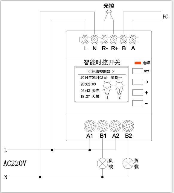 产品简介: TKSK经纬度时间控制器又叫天文钟,是采用先进的崁入式微型计算机控制技术,根据一年四季变化规律和地球自转和绕太阳公转的原理,全球任何一个地区均具有唯一经纬度的原则,计算出该地区的日出日落时间,进而改变开关灯的时间。该产品可以支持两个时间段定时控制,实现全夜灯和半夜灯,还带光控、星期、节假日可选等多种控制模式结合实现最优化的经纬度路灯控制器节能技术。 功能特点: l 集传统时间控制、天文时钟、光控为一体,称之为三合一 智能路灯控制器,同行的先进产品。 l 中文LCD显示屏,并带有RS485通